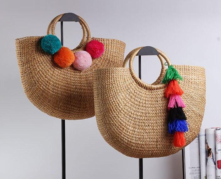 36x26CM Handmade  Female Cotton And Linen Beach Weaving Ladies  Straw Bag Wrapped Bag Moon shaped  Bag A2925