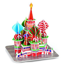 Classic 3D Jigsaw Puzzle Russia Moscow Saint Basil's Cathedral Building World Construction Scale Models Sets City For Children цены