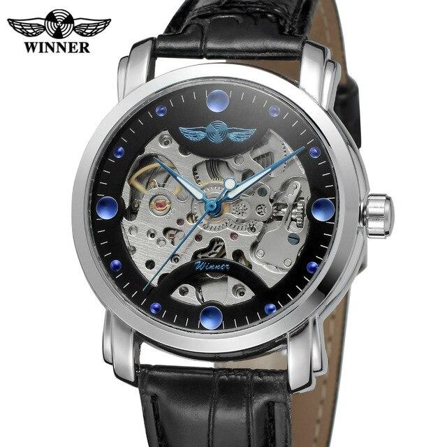 1c7290c60c4 T-shirt vencedor homens relógio automático de esqueleto pulseira de couro  analógico marca melhor relógio