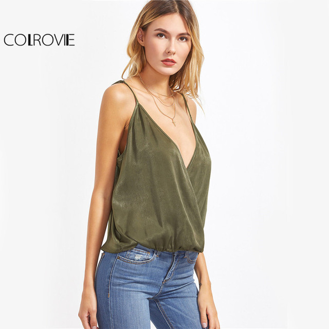 Women Olive Green Cami Summer Top Sexy Deep V Neck Surplice Front Brief Casual Camisole