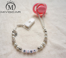 MIYOCAR Personalized -White Bling silver rhinestone hand made pacifier clips / soother holder Dummy clip / Teethers clip