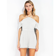 VA New Women Solid Color Romper 2017 Summer Sexy Off Shoulder Backless Lace Hole Out Jumpsuit(China)