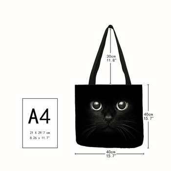 Fabric Travelling Shopping Bags Cute Kitty Cat Printed Tote Bag School Shoulder Bags 1