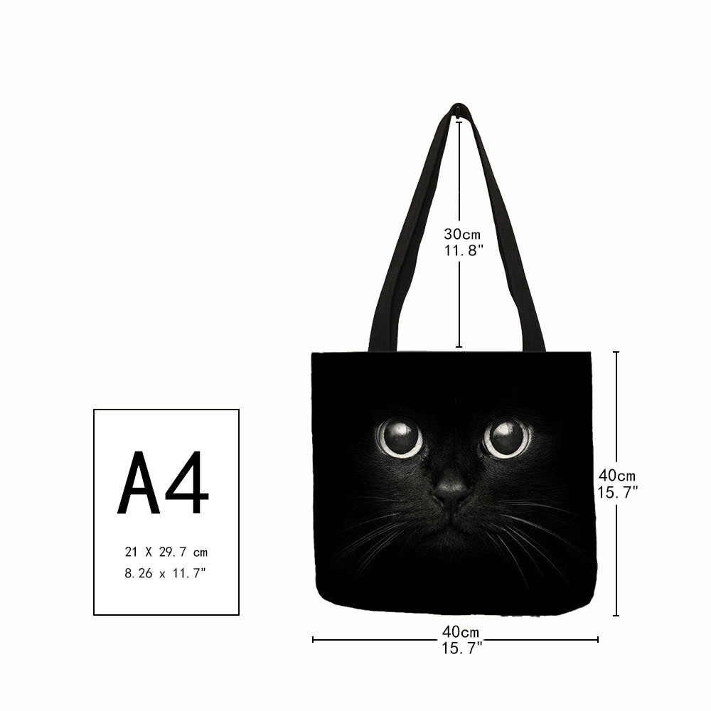 Fabric Traveling Shopping Bags Cute  Cat Print Tote Bag for Women Personality School Shoulder Bags