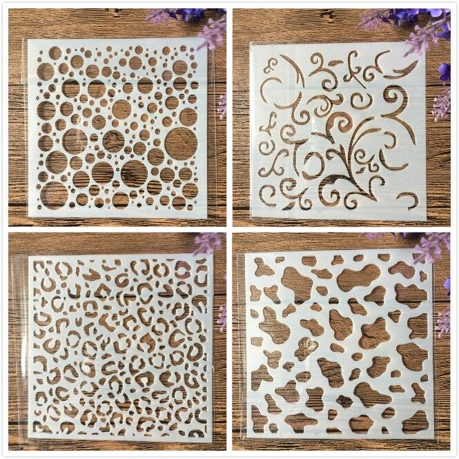4Pcs/Set 5inch Bubble Texture DIY Craft Layering Stencils Wall Paint Scrapbook Stamp Embossing Album Decorative Card Template