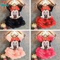 O Envio gratuito de 2015 Novos Do Bebê Meninas Define Meninas Minnie Mouse Vestuário Set camiseta + Saia Crianças 2 pcs Terno varejo