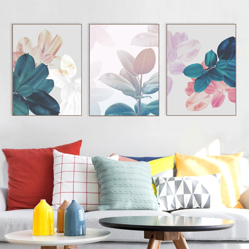 Leaves prints living room decor