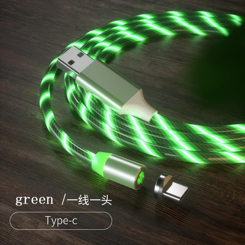 1 м Магнитный зарядный кабель для мобильного телефона, usb type C, светящийся провод для передачи данных для iphone Samaung huawei, светодиодный Micro Kable - Цвет: green for type-c