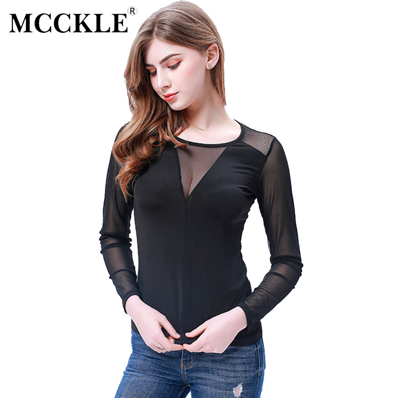MCCKLE 2017 Women Sexy Splice Long Sleeve Tops Mesh Blouse Casual Mesh Top Blouses Solid Slim View Through Ladies Shirt Pullover