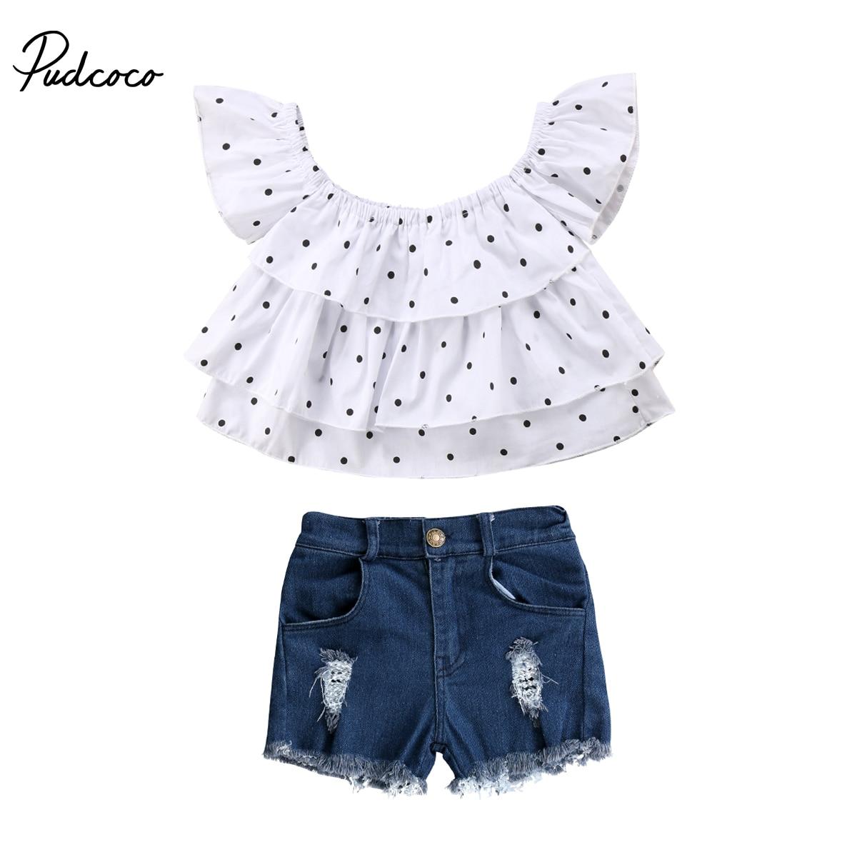 Pudcoco для новорожденных Одежда для девочек комплект с открытыми плечами Футболка Топ + джинсовые штаны Детский комплект для девочек из 2 пред...