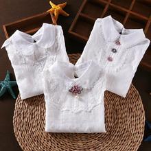 Г. Осенне-зимняя блузка для девочек; рубашки для маленьких девочек-подростков; топы для школьниц; хлопковая кружевная Детская рубашка с длинными рукавами; детская одежда JW4038