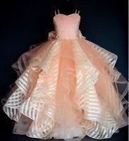 Długi ruffles ball suknie dziewczyny korowód sukienka prom suknie wieczorowe kids birthday party suknie peach flower girl dresses