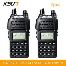 (2 PCS)KSUN UV68D Ham Two Way Radio walkie talkie Dual-Band Transceiver UHF/VHFDouble frequency BUXUN X-68D(Black)