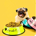 Colorful Stainless Steel Dog Feeding Bowl Cat Puppy Food Dish Pet Drink Water Bowl Non Slip Pink Red Blue Colors Size XS to XL