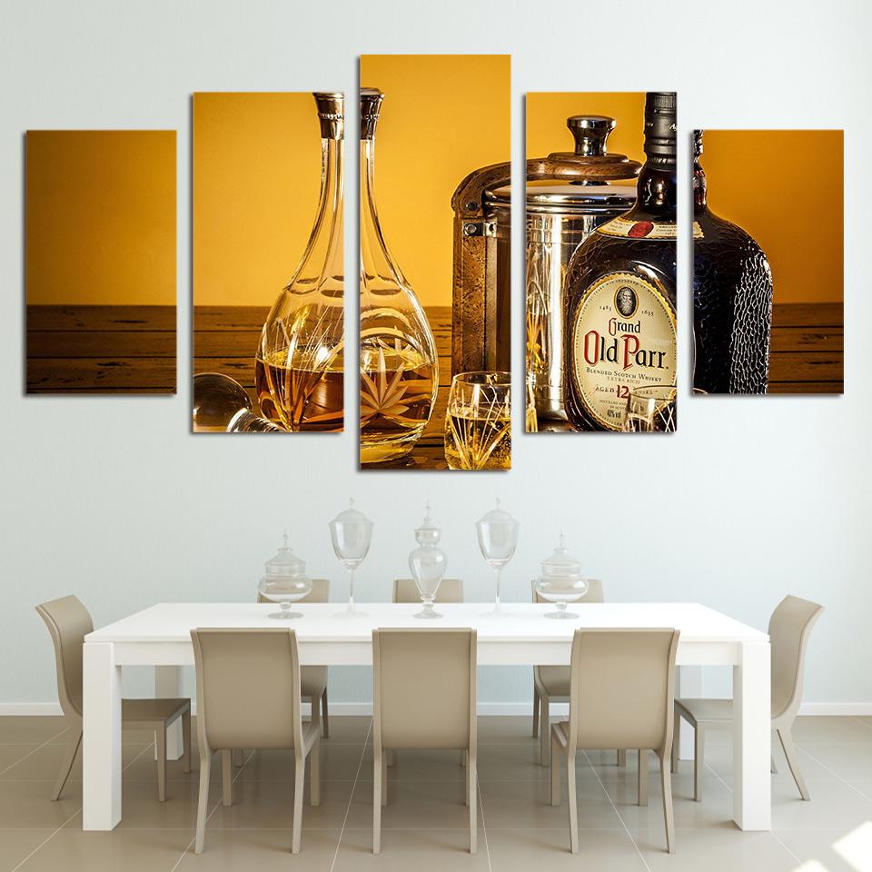 clsica unidades de botellas de vino y copa de cristal pared de lona de arte
