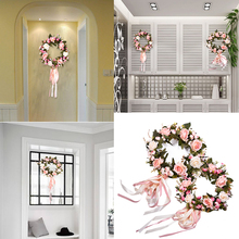 Artificial Plant Flowers Wreaths Fake Roses Leaves Garland Wedding Door Wreath DIY Wall Car Decoration Decorative Plants Flower