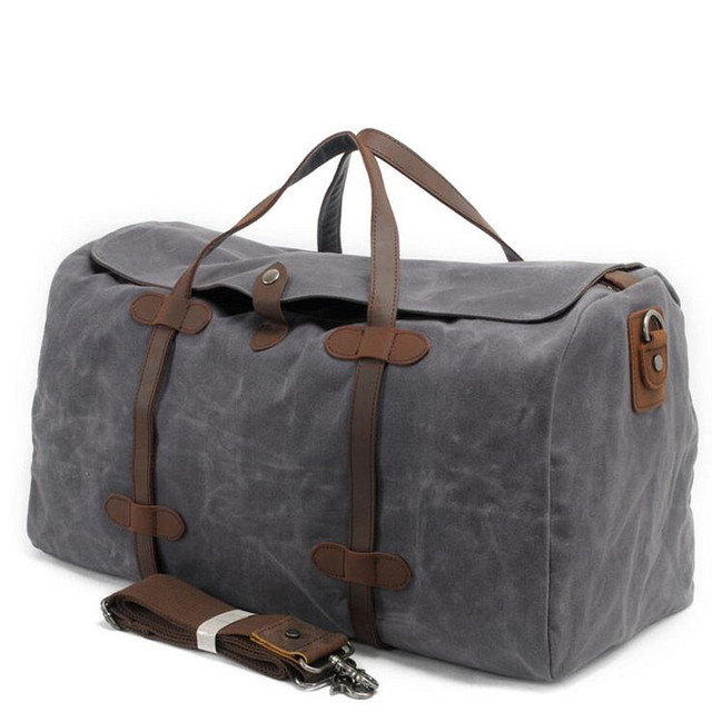 Vintage Wax Printing Canvas Leather Women Travel Bags Luggage Bags Men Duffel Bags Travel Tote Large Weekend Bag Overnight