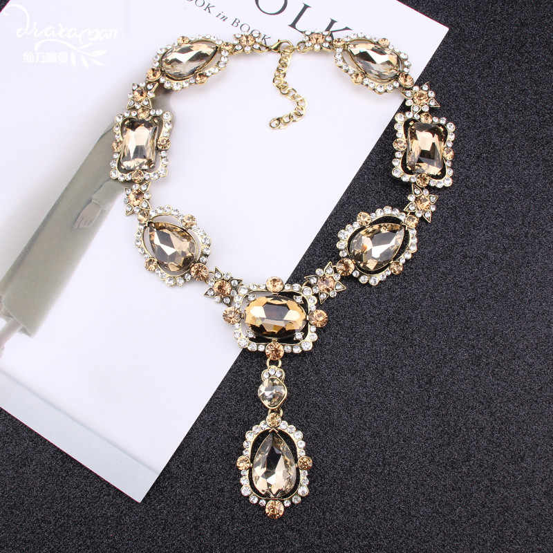 Dvacaman 2018 Luxury Za Long Crystal Pendant Necklace Big Statement Necklace Women Wedding Necklace Jewelry Choker Necklace M62