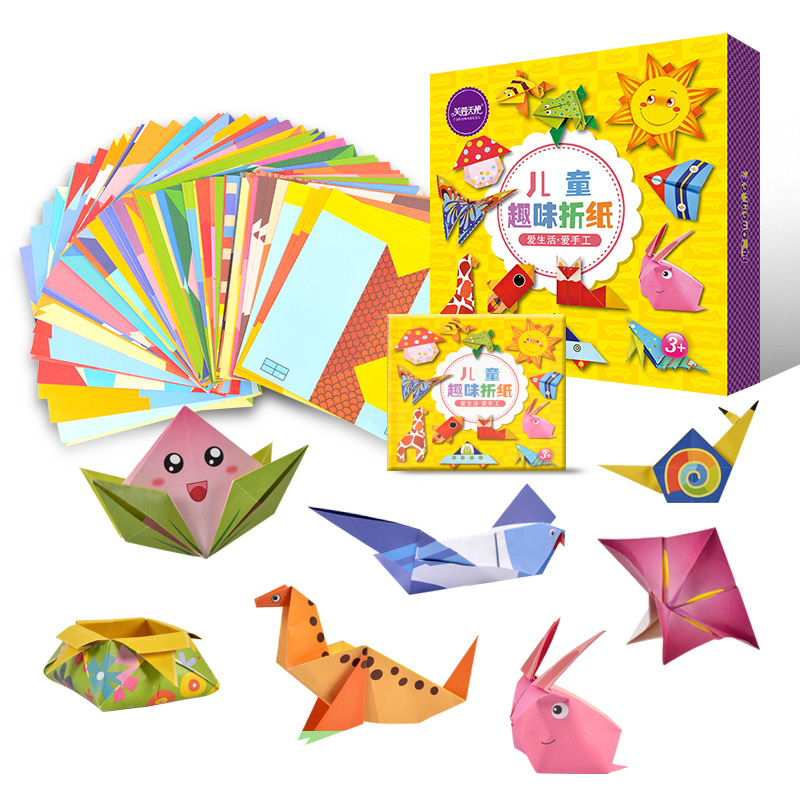 New Hot 108 Pcs Children Origami Book For Animal Pattern 3D Puzzles/ Kids DIY Paper Craft Production Learning Educational Toys