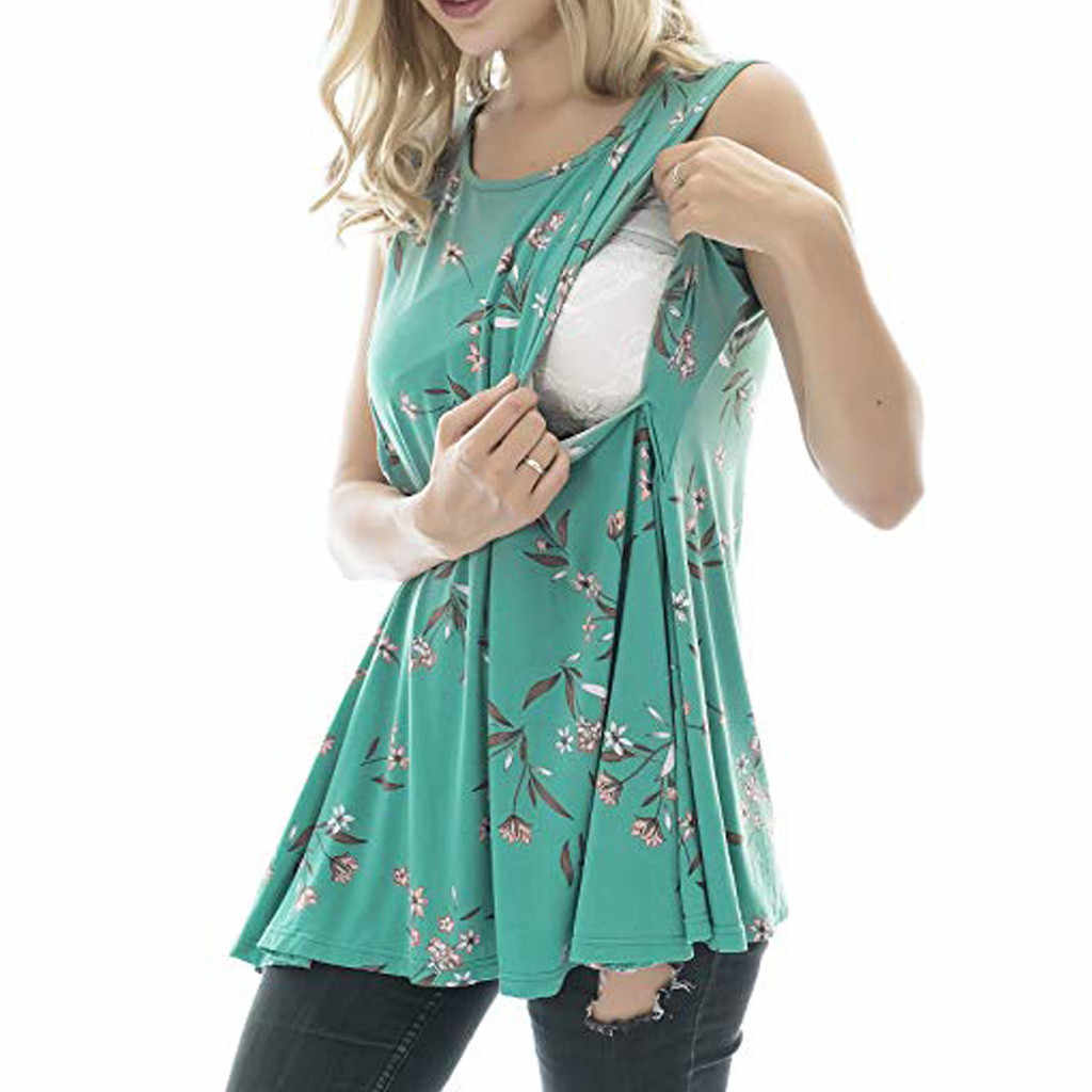 ARLONEET 2019 Women Maternity Casual Sleeveless Breastfeeding Clothes Floral Print Nursing Top Casual Pregnant T shirt Clothes