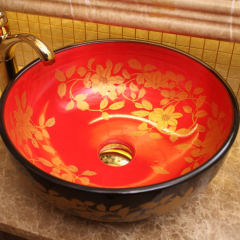 Beautiful jingdezhen hand throwing porcelain art basin with black and red color