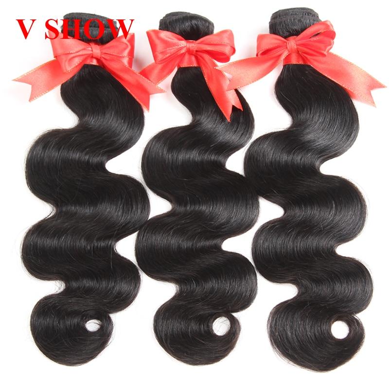 3 Bundles Peruvian Body Wave VSHOW Mänskliga Hårpaket Natural Black - Mänskligt hår (svart) - Foto 2
