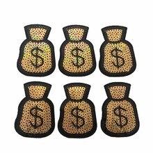 10 Unids / lote Nueva Llegada Bolsa de Dinero Parches de Hierro en Parches Con Lentejuelas Ropa Decorada Accesorio DIY Applique Dollar Bag Sticker