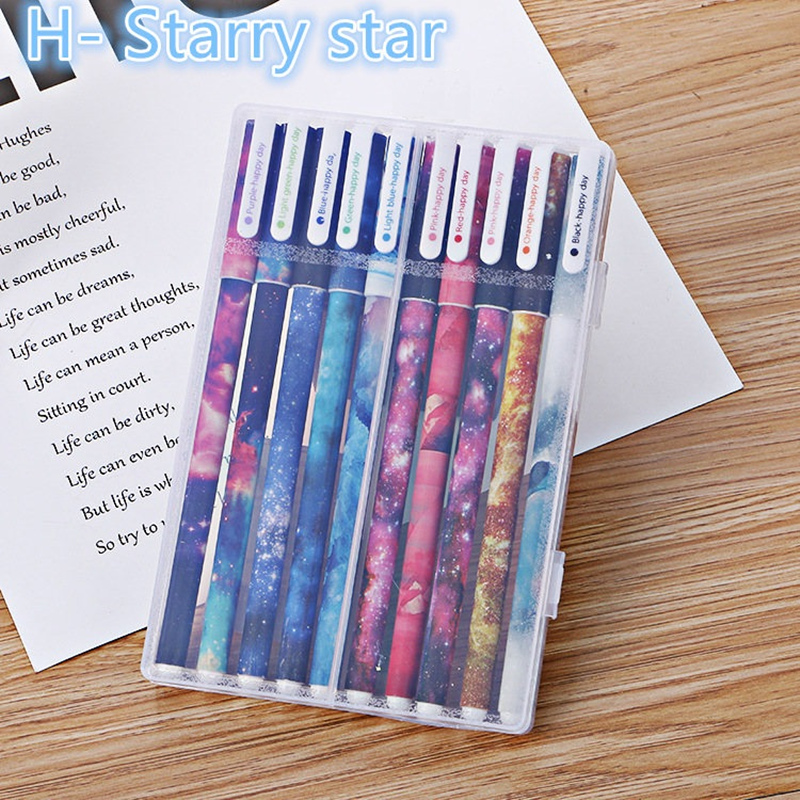 10pcs Galaxy Star Gel Pen Set 0.5mm Fine Nib Color Ink Pens Stationery Office Accessories School Supplies Canetas Escolar DB308