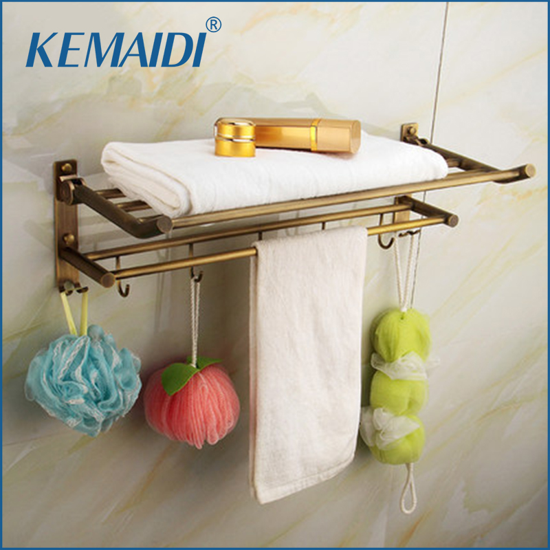 KEMAIDI Bathroom Shelf Antique Brass Triple Tier Wall Mounted Shower Bathroom Shelve Bat ...