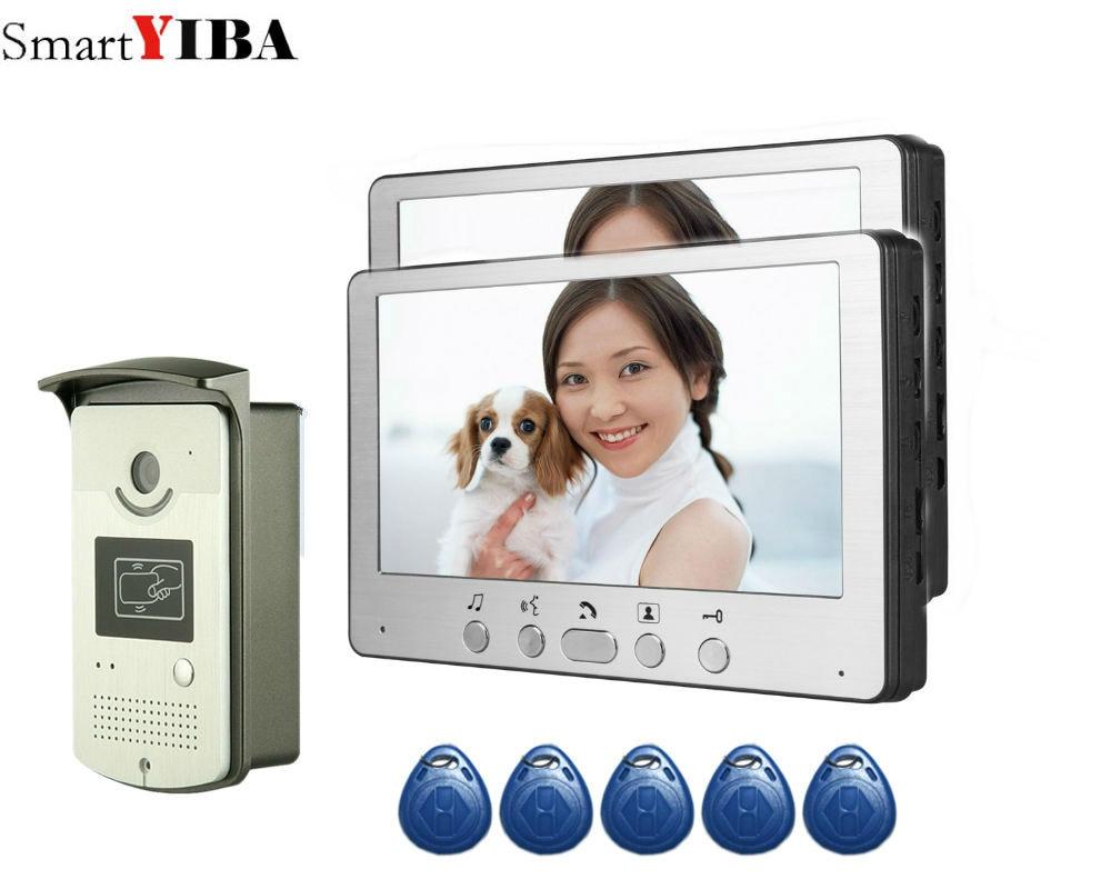 SmartYIBA RIFD Card Video Door Phone Intercom In Apartment 7 Inch LCD Video Door Intercom 1 Camera 2 Monitor Apartment House