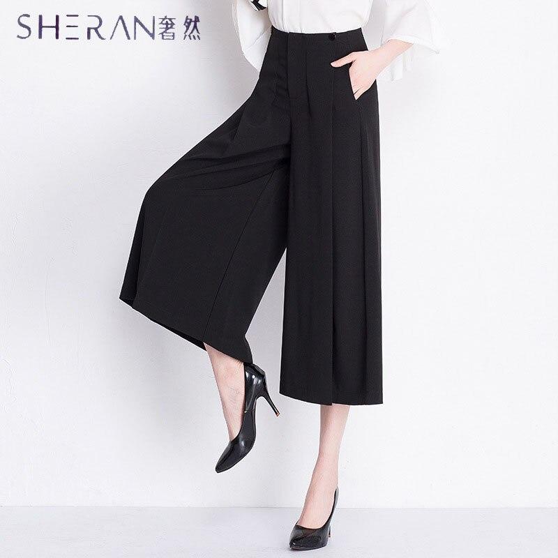 SHERAN Plus size Women Pure black Wide Leg Loose Skirt Pants 2018 Spring New Fashion Wild Pants Skirt Trousers Ladies Clothing