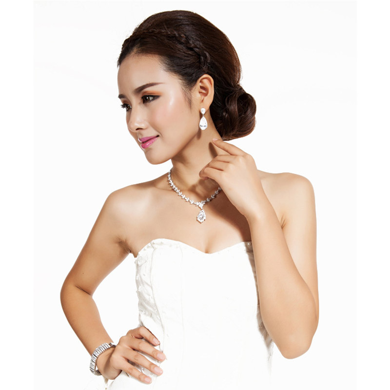 LUOTEEMI Elegant Teardrop Shape White CZ Stone Fashion Waterdrop - Նորաձև զարդեր - Լուսանկար 2