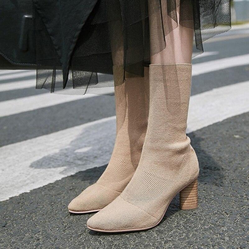 Cheville À Hauts Femmes Pour Teahoo Boots Chaussette Tricot D'hiver Bout Pointu Talons Mode black De Chaussures Boots Extensible Apricot Bottes DEIH92