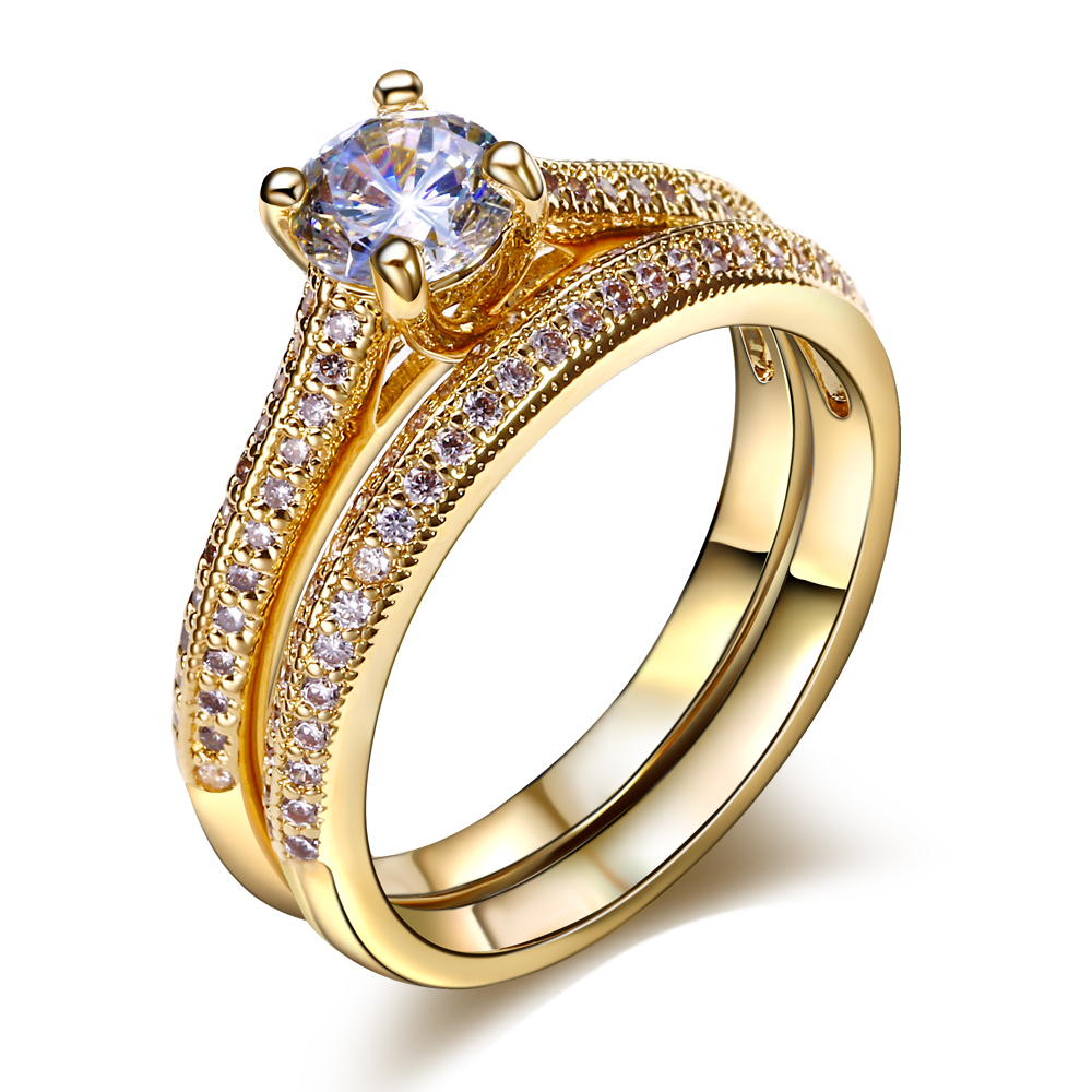Bridal Wedding Rings 2pcs Set Gold And White Color Best Gifts 3a Crystal Clic Engagement Jewelry Womans Ring For In From