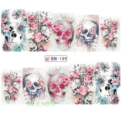 Water sticker for nail art decoration slider watercolor skull with flower crown nail design decal manicure lacquer accessoires 7 nail art beauty nail sticker water decal slider cartoon animal claw paw foot print rp025 030
