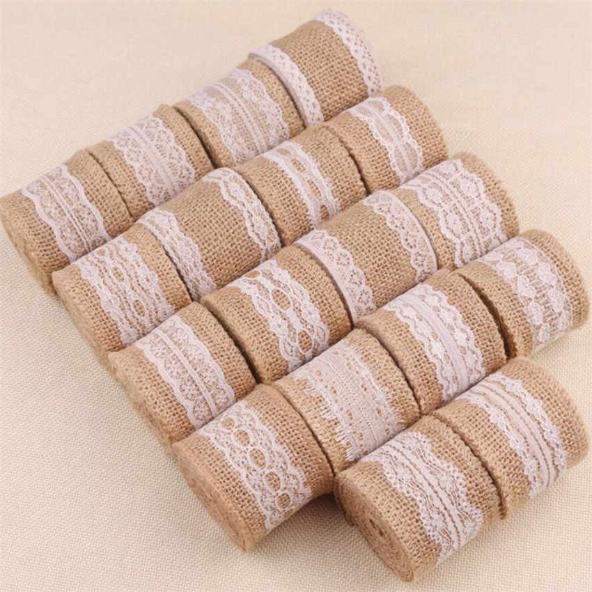 2M/roll Natural Jute Burlap Rolls Hessian Ribbon With Lace 5cm Vintage Rustic Wedding Decoration Ornament Burlap Christmas Party
