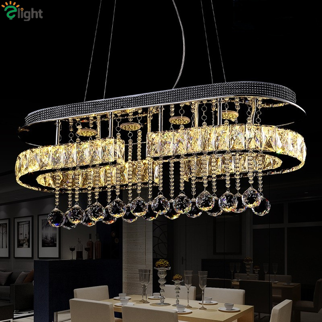 Modern Re Crystal Led Pendant Lights Creative Chrome Metal Dining Room Dimmable Lamp Hanging Lighting Light