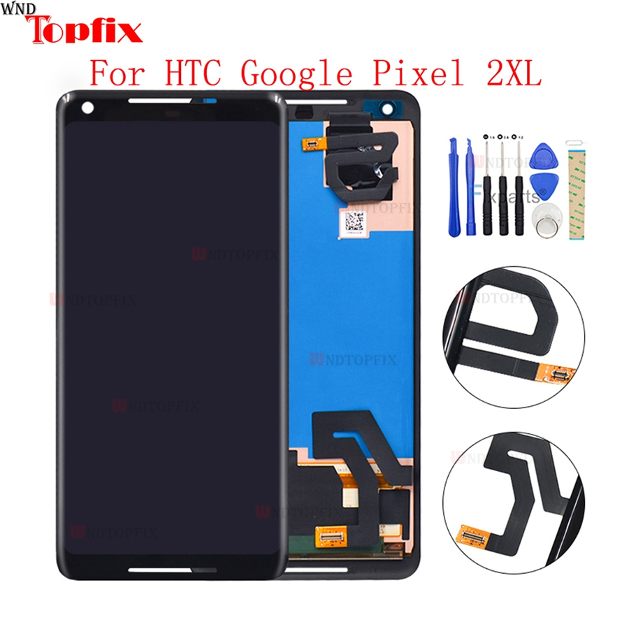 6.0 For HTC Google Pixel 2 XL LCD Display Touch Screen Digitizer Assembly Replacement+Tools For Google Pixel 2 LCD Display 5.0