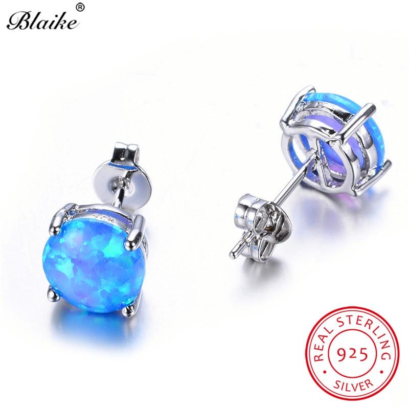 Blaike 8MM Round Blue White Green Fire Opal Stud Earrings For Women 925  Sterling c424cf8e93aa