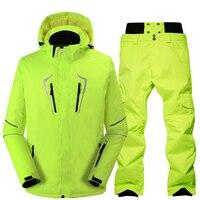 Лыжный костюм мужской ветрозащитный Водонепроницаемый Утепленная зимняя одежда для мужчин сноуборд куртка Брюки для девочек костюм зимни