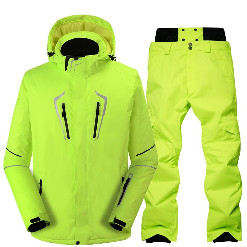 Combinaison de Ski Mâle Coupe-Vent Imperméable Épaissir Neige Vêtements Pour hommes Snowboard Veste Pantalon Costume D'hiver Ski Manteau Pantalon