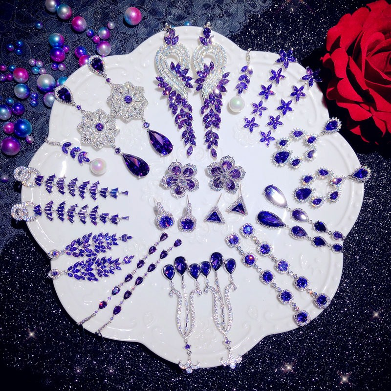 Drop Earrings For Women Trendy Solid S925 Silver Luxury Purple Cubic Zirconia Long Tassels Fine Jewelry Temperament Bijoux
