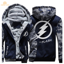 HAMPSON LANQE Superman The Flash Zipper Hoodies Mens 2019 Winter Jackets Men Warm Fashion Sweatshirts Plus Size Coat