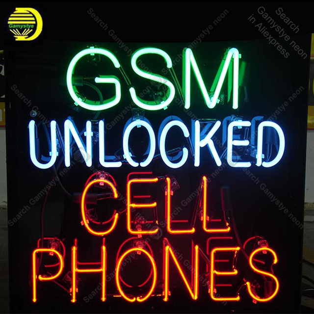 Neon Sign Gsm Unlocked Cell Phone Neon Sign Real Glass Tube Beer Neon Bulb Signboard lighted Decor Room Home neon light for sale
