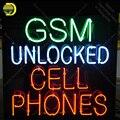 Неоновая вывеска Gsm разблокированная неоновая вывеска для сотового телефона Настоящая стеклянная трубка пивная неоновая лампочка вывеска ...