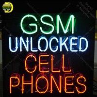 Неоновая вывеска Gsm разблокирована сотовый телефон неоновая вывеска реального Стекло трубка Пивной неоновая лампа вывески освещенные деко