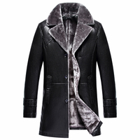 2017 New Winter Men Leather Jacket High Quality Business Fashion Fur Collar Warm Men's Thick Leather Coat Male Brand Clothing