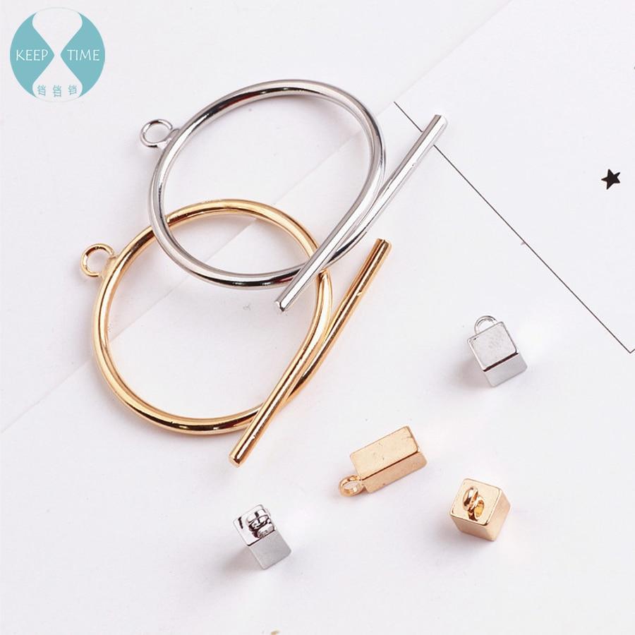 Copper Tetragonal Oblong Ear Ear Pendant Round Metal Earring Hook Material Accessories Diy Handmade Earrings
