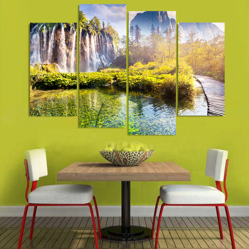 4 Piece Canvas Art Canvas Painting Mountain Waterfall HD Printed ...