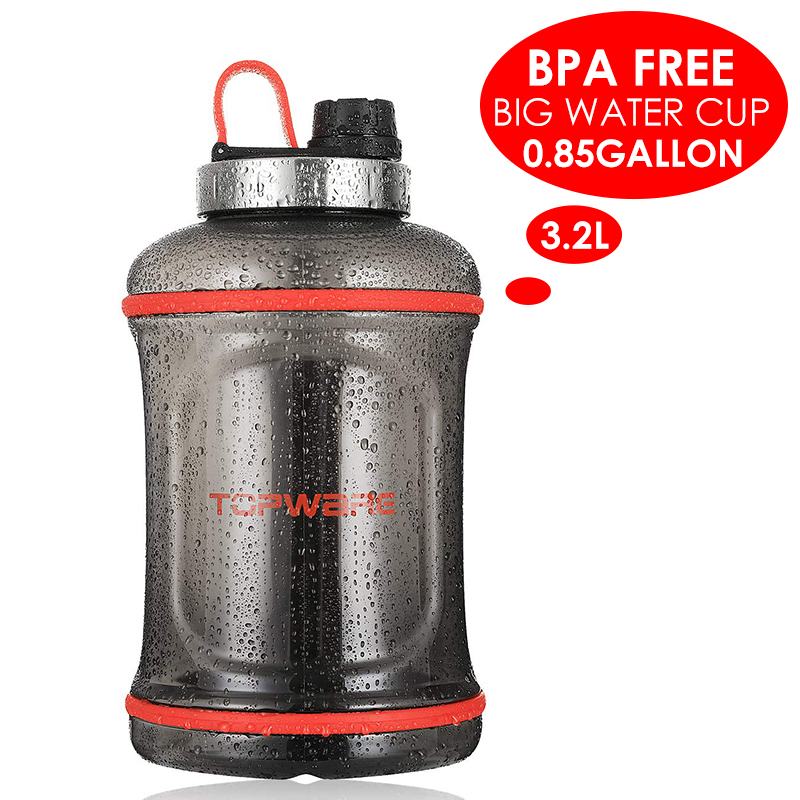 3.2L huge capacity water bottle BPA free tritan water container cold and hot water dishwasher safe for outdoor sports hiking(China)
